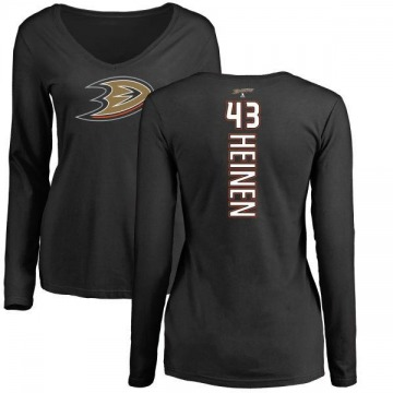 Women's Danton Heinen Anaheim Ducks Backer Long Sleeve T-Shirt - Black