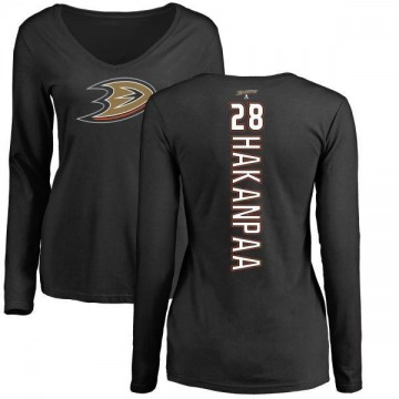 Women's Jani Hakanpaa Anaheim Ducks Backer Long Sleeve T-Shirt - Black